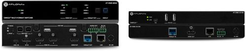 Atlona Omega 4x2 4K/UHD multiformat matrix switcher, with HDMI, USB-C, Display port, and USB pass through over HDBaseT. Inkl. Reciever. (AT-OME-MS42-KIT)