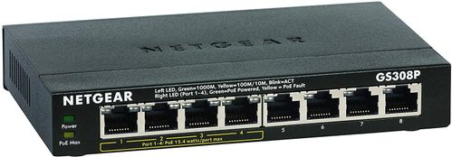 NETGEAR Switch GS308P-100PES 8PT with 4 PoE GE Unmanaged Switch_ Metal_ LP_ (GS308P-100PES)