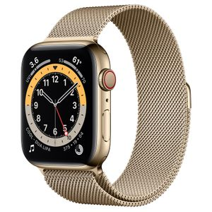 APPLE Watch Series 6 44mm 4G guld/guld Gold Stainless Steel Case med Gold Milanese Loop (M09G3DH/A)