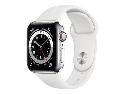 APPLE WATCH S6 GPS+CELL 40MM SILVER STSTEEL CASE W WHITE S/P ACCS (M06T3KS/A)