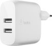 BELKIN Dual USB-A Wall Charger 24W + Lightning to USB-A Cable (MFi) / WCD001vf1MWH