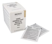 DELTACO Office Hand disinfectant wipes in sachets, 20pcs