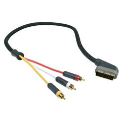 PUREAV 3 RCA TO SCART VIDEO CABLE 3.6M UK