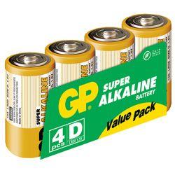 GP Alkaliske Batterier 4D 1,5V 4-pack (151037)
