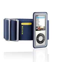 SPORTS ARMBAND NEW IPOD NANO WITH FAST FIT IN NAVY BLUE&YELLOW