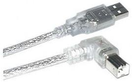 1MAG USB 2.0-kabel  A - B  90° Left  Transparent   2,0m (USB-II-2L)