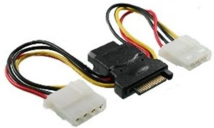 1MAG SATA power adapter cable SATA M to 3 x 5,25 F - length 2 x 12cm (S-ATA-PWR-ADP)