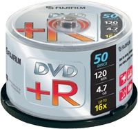 FUJI DVD+R 4.7 GB 16X CAKEBOX 50P SILVER (47593)