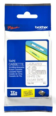 18MM White On Clear Tape