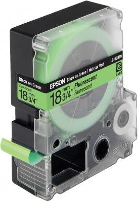 LC-5GBF9 - TAPE 18MM FLUORESCENT BLACK ON GREEN SUPL