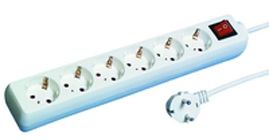 REV Socket line 6-fold 1,4 m with switch white (512360555)