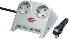 BRENNENSTUHL Brenn Desktop + USB gy 4x Steck | Power Plus + USB 2.0 Hub