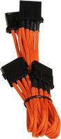Molex zu 3x Molex Adapter 55cm - sleeved orange/ black