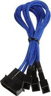 Molex zu 3x 3-Pin Adapter 20cm - sleeved blue/ black