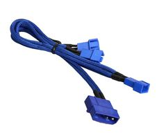 Molex zu 3x 3-Pin 5V Adapter 20cm - sleeved blue/blue