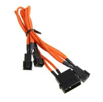 Molex zu 3x 3-Pin 5V Adapter 20cm - sleeved orange/ black