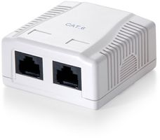 OUTLET BOX SURFACE MOUNT 2-PORT UTP CAT.6 WHITE CABL