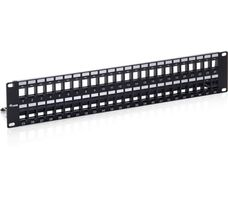 PatchPanel Cat.6 48 Port / sw / Keystone ungeschirmt