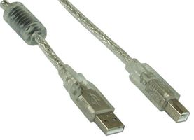 USB 2.0 Kabel, A an B, mit Ferritkern - transparent,  1m
