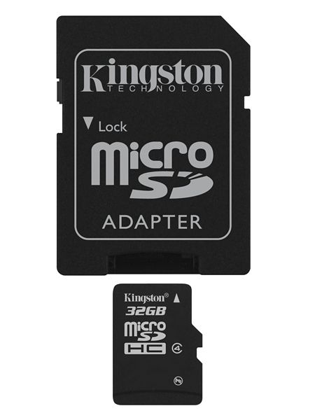 32GB microSDHC med SD adapter Class 4