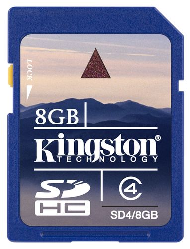 KINGSTON Secure Digital 8GB SDHC, Class4, SD2.0 specification (SD4/8GB)