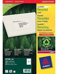 AVERY BlockOut Recycled Labels Laser Eco-friend 199, 6x143, 5mm 2 labels/ sheet 100 sheet/ pack (LR7168-100)