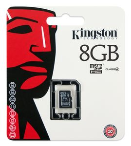 KINGSTON 8GB MICROSD™ HC FLASH CARD SINGLE PACK (SDC4/8GBSP)