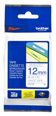 BROTHER P-TOUCH TAPE 12MM BLUE/ WHITE