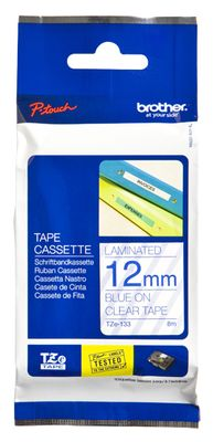 BROTHER P-TOUCH TAPE BLUE/ CLEAR 12MM
