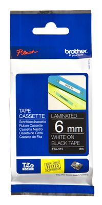 Brother TZe tape 6mmx8m white/ black