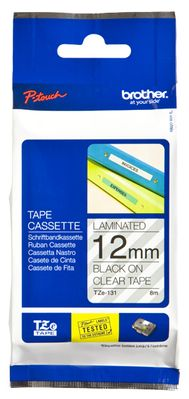 12MM Black On Clear Tape