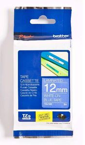 BROTHER 12MM White On Blue Tape (TZE535)
