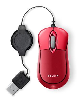 Mobile Mouse/ Retractable USB Red