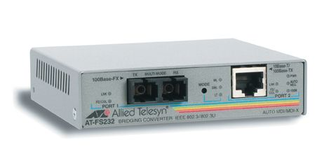 Allied Telesis Switch FS232, 10/100TX (RJ-45) to 100FX (SC)