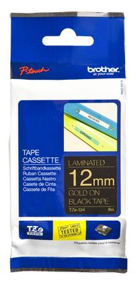 BROTHER P-TOUCH TAPE 12MM YELLOWD/ BLACK