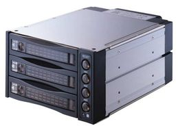 "2 x 5.25"" bays for 3 S-ATA HDD,  Hot-Swap, full aluminium"