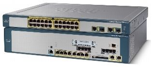 32 User configuration with 4 BRI trunks (BRI), 4 Analog ports (FXS), 8 PoE ports, 1 VIC slot for expansion