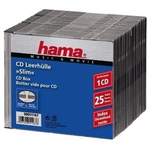 HAMA 1x25 Slim CD Jewel Case transparent/ black          51167 (51167)