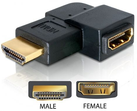 HDMI-adapter,  19-pin hona till hane, vinklad