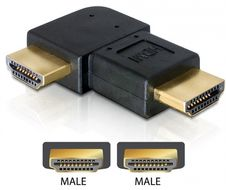 HDMI-adapter,  19-pin hane till hane, vinklad