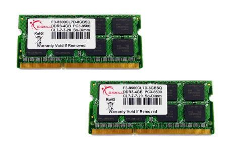 G.SKILL SO-DIMM 8 GB DDR3-1066 Kit (F3-8500CL7D-8GBSQ) F3-8500CL7D-8GBSQ (F3-8500CL7D-8GBSQ)