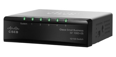SB 100 Series 5-port 10/100 switch Desktop unmanaged switch, 1Gbps capacity, QoS 802.1P priority, External pw.