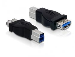 DELOCK USB 3.0 adapter, Typ A ho - Typ B ha, svart (65179)