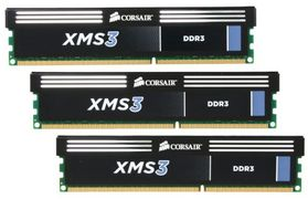 CORSAIR XMS3 DDR3 1333MHz 12GB CL9 Kit w/3x 4GB XMS3 modules, CL9-9-9-24,  1.5V, Core i3, i5 and  i7, 240pin (CMX12GX3M3A1333C9)