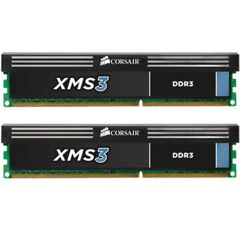 XMS3 DDR3 2000MHz 4GB CL9 Kit w/2x 2GB XMS3 modules, CL9-10-9-27,  for Core i3/i5/i7, 1.65V