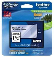BROTHER 36MM Black On Clear Tape (TZE161)