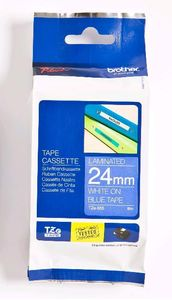 BROTHER 24MM White On Blue Tape (TZE555)