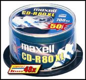 MAXELL CD-R 80XL 700MB SILVER 1-48X SPINDEL 25-PACK NS (628522)