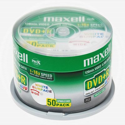 DVD+R 4.7GB 16X 50PK SPINDEL FULL PRINTABLE WHITE INK-JET NS