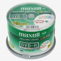 MAXELL DVD-R 50-pack spindel 4,7GB data/ 120min video printable 16x (275921.25)